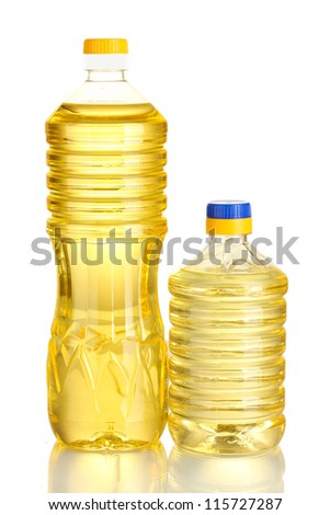 sunflower oil in a plastic bottles isolated on white background