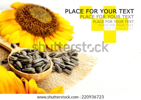 Sunflowers and seeds on wooden background