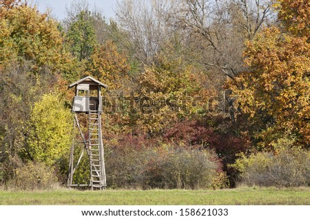 Sunny autumn color forest with hunting stand