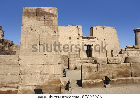 sunny illuminated scenery including the ancient Temple of Edfu in Egypt (Africa)