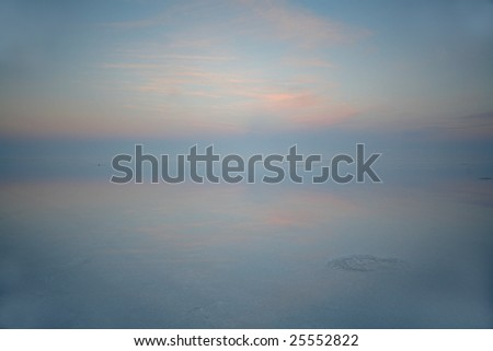 Sunrise on the Uyuni salt lake