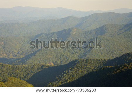 Sunrise over the appalachian mountains from mount mitchell the