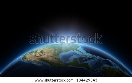 Sunrise, space view, USA. Elements of this image furnished by NASA.