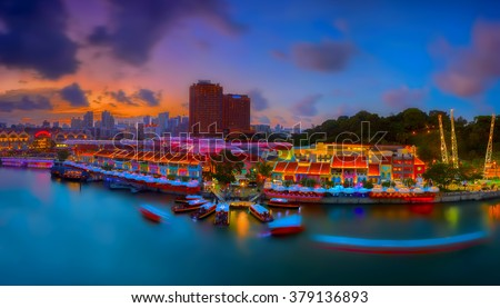 Sunset and panoramic view of Clarke Quay, Singapore