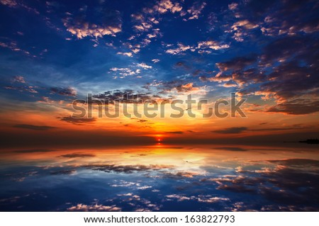 Sunset and reflection with beautiful sky