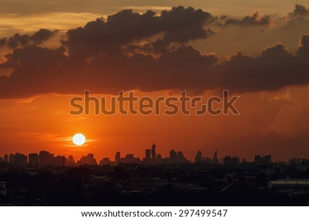 Sunset at city  with  of building silhouette in bangkok
