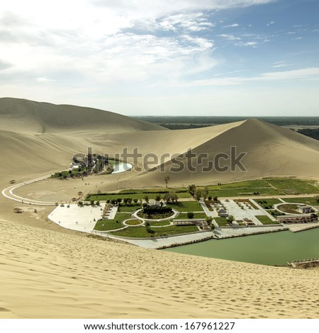 Sunset Crescent Lake in Dunhuang