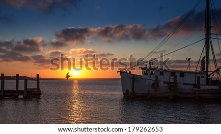 Sunset from Amelia Island, framed by Pier and Shrimp Trawler, with Pelican in Flight Silhouetted Against Colorful Sky