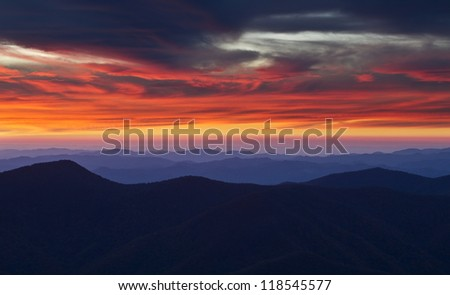 Sunset from the summit of Mount Mitchell