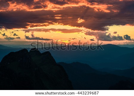 Sunset in mountains over hills in Chiangmai, Thailand