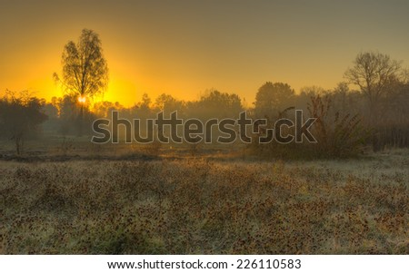 Sunset in rural Ukrainian area