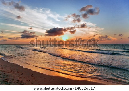 sunset in the Atlantic Ocean in Cuba