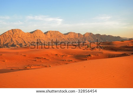 Sunset in the desert in UAE