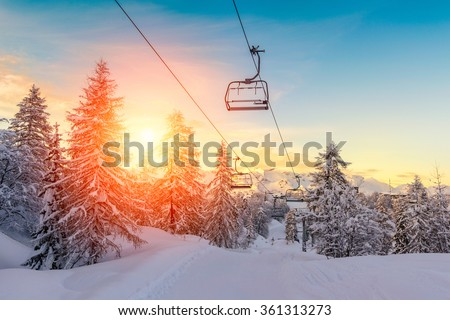 Sunset in winter landscape  in mountains Julian Alps-Europe