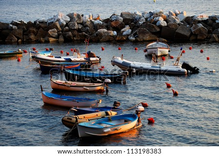 Sunset light in Riomaggiore Harbor, Cinque Terre, Italy
