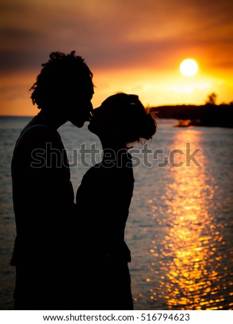 Sunset Love in Beach Cuba