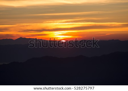 sunset mountains