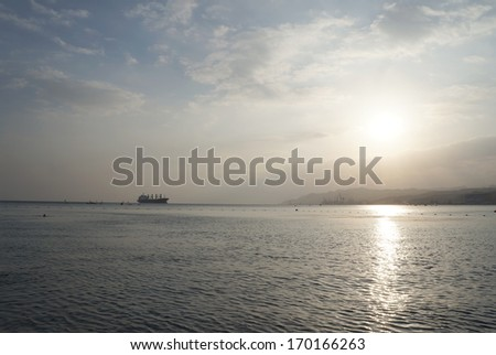 Sunset near Red sea, against the sunlight