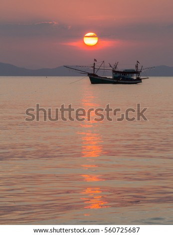 Sunset on fishing boat