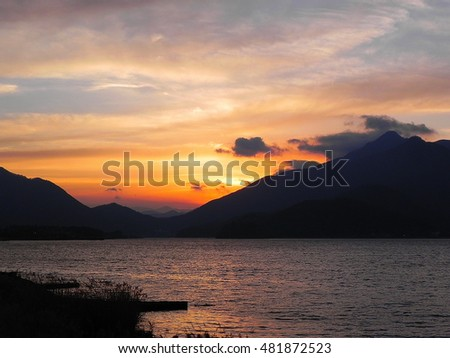 Sunset over lake Kawaguchiko in Japan. Famous tourist attraction for beauty of natural lakes