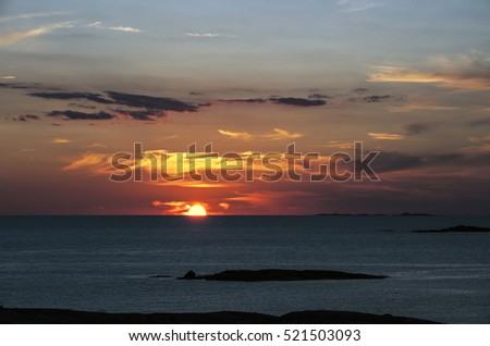 Sunset over sea and archipelago of west coast, Sweden