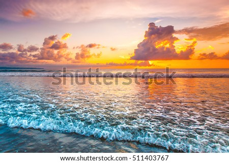 Sunset over sea on Bali, Seminyak, Double six beach
