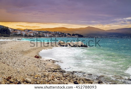 Sunset over the beach on Ciovo (otok) island in Croatia near Trogir city