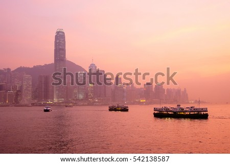 Sunset over the skyline of Hong Kong