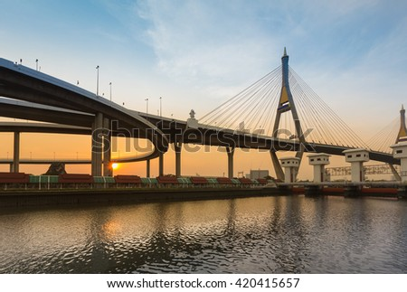Sunset sky background, Suspension bridge river front