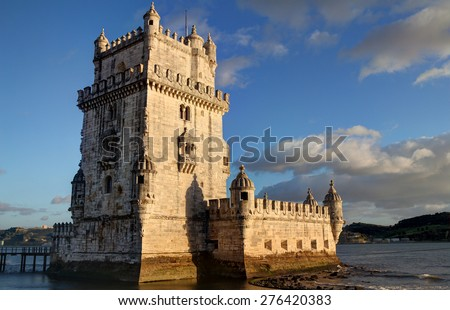 Sunset view of Belem Tower in Lisbon, Portugal