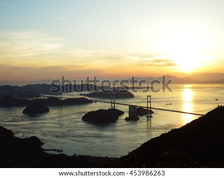 Sunset view of the Shimanami Kaido from Kiro-san Observatory Park, Seto Inland Sea, JAPAN. Also can see the Kurushima-Kaikyo Bridges