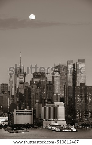 Super Moon over Midtown Manhattan in BW at sunset