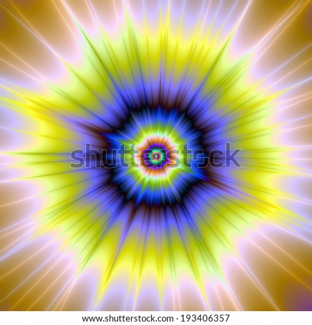 Super Nova in Blue and Yellow / Digital abstract fractal image with a color explosion design in blue, green and yellow.