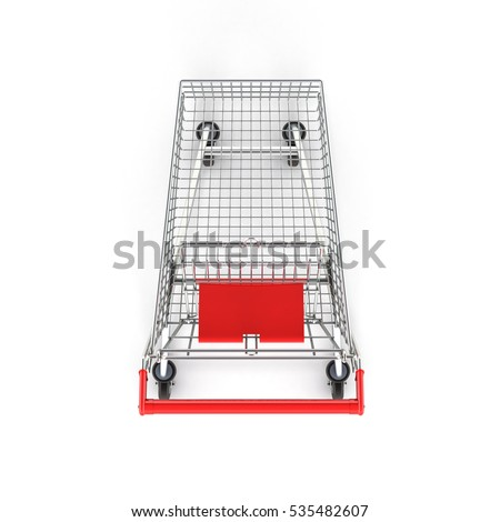 supermarket shopping cart top view on white background 3d