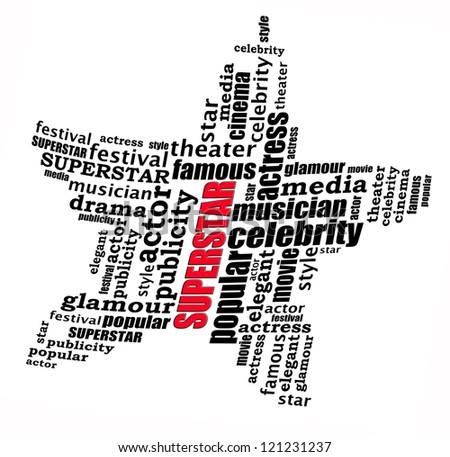 Superstar info-text graphics and arrangement concept on white background (word cloud)