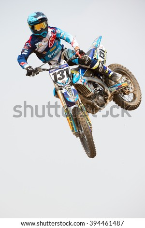 SUPHANBURI-MARCH 05:Chaiyan Romphan with Yamaha in competes during Qualifying Race MXGP class the FIM Motocross Wolrd Championship Grand Prix of Thailand on March 05,2016 in Thailand.