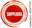 suppliers, grunge red rubber stamp on a solid white background - stock photo