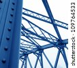 Support above the bridge, steel structure close-up. - stock photo