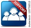 Support  (Customer care team icon) glassy red ribbon on glossy button - stock photo