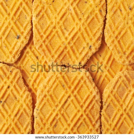 Surface covered with cheese cookies