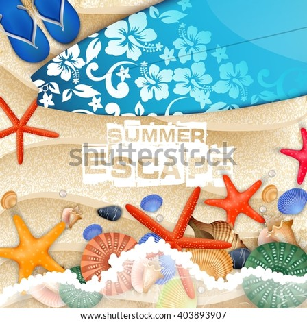 Surfboard and Flip-flops on sand background
