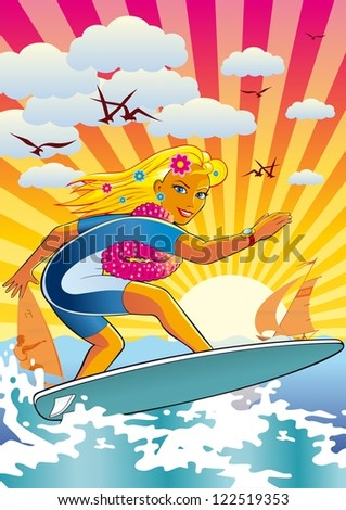 Surfing girl. illustration of an active lifestyle, she rides his surfboard on the waves.