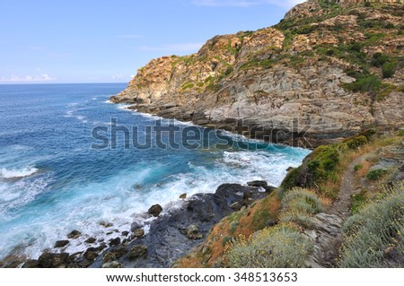 surging sea at the edge of the cliffs - Cap Corsica
