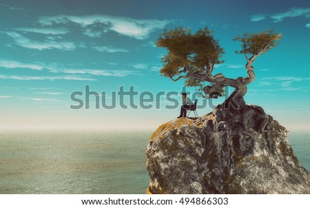 Surreal illustration of a man sitting on a chair at the of a mountain overlooking the sea. This is a 3d render illustration