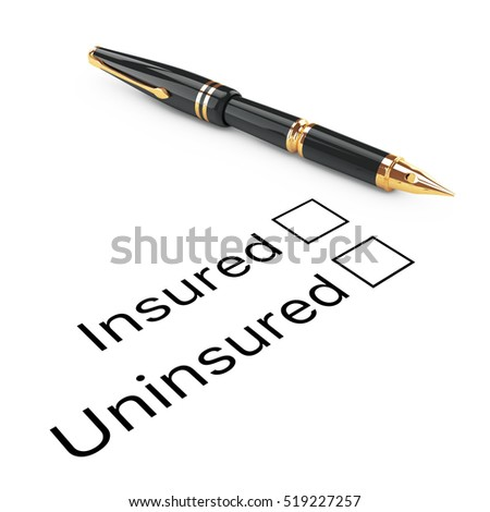 Survey Concept. Insured or Uninsured Checklist with Golden Fountain Writing Pen on a white background. 3d Rendering