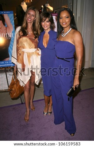 Susan Holmes with Lisa Rinna and Garcelle Beauvais   at the launch party for 'Dance Body Beautiful' series of DVDs by Lisa Rinna. Belle Gray, Sherman Oaks, CA. 12-09-08