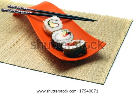 Sushi, Japanese food in a bowl and hashi.