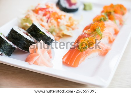 Sushi japanese food style - soft focus point