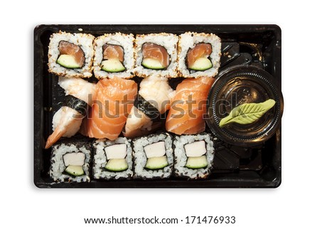 Sushi mix in a plastic tray