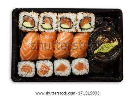Sushi mix on a plastic tray
